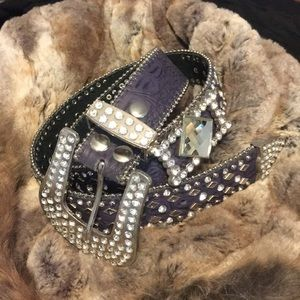 Other - Rhinestone purple leather belt